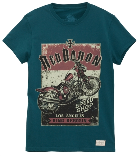 King Kerosin - Red baron Speedshop, T-Shirt blau
